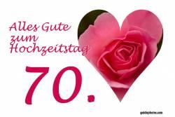 Glückwunschkarte 70. Hochzeitstag Herz, Liebe, Valentinstag rote Rose