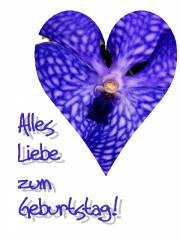 Geburtstagskarte Orchidee, herz, blau