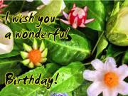 Geburtstagskarte Gemüse Blüten Englisch