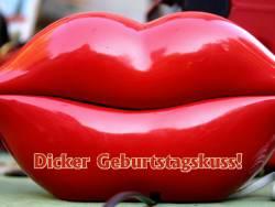 Geburtstagskarte Kuss Lippen