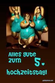 5. Hochtzeitstag Hochtzeitskarte Tänzerin Holzhochzeit