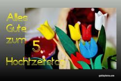 Karte 5. Hochtzeitstag Tulpen, bunt Holzhochzeit