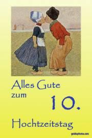 Rosenhochzeit, Karte 10.Hochtzeitstag Kuss Holland