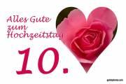 Rosenhochzeit, Karte 10.Hochtzeitstag Herz, Liebe, Valentinstag rote Rose