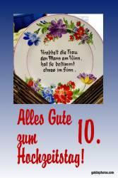 Rosenhochzeit, Karte 10.Hochtzeitstag Gedicht