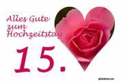 Karte 15. Hochzeitstag Kristallhochzeit Herz, Liebe, Valentinstag rote Rose