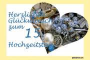 Karte 15. Hochzeitstag Kristallhochzeit Herz, Liebe, Valentinstag Schmuck