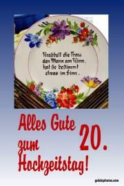 Karte 20. Hochzeitstag Porzellanhochzeit Gedicht