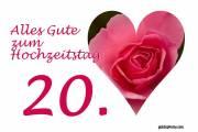 Karte 20. Hochzeitstag Porzellanhochzeit Herz, Liebe, Valentinstag rote Rose