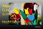 Karte 20. Hochzeitstag Porzellanhochzeit Tulpen, bunt
