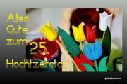 25 Hochzeitstag Tulpen, bunt
