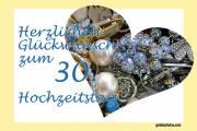 Karte 30. Hochzeitstag Herz, Liebe, Valentinstag Schmuck Perlenhochzeit
