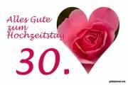 Karte 30. Hochzeitstag Herz, Liebe, Valentinstag rote Rose Perlenhochzeit