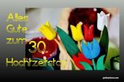 Karte 30. Hochzeitstag Tulpen, bunt Perlenhochzeit