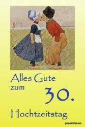 Karte 30. Hochzeitstag Kuss Holland Perlenhochzeit