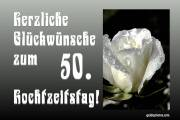 50. Hochzeitstag Herz, Liebe, Valentinstag Rose weiß