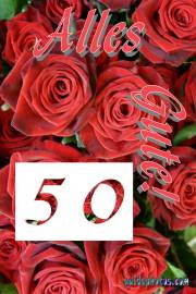 50 Hochzeitstag Karten rote Rosen