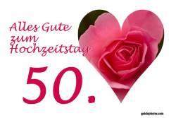 Goldene Hochzeit Karte Herz, Liebe, Valentinstag rote Rose
