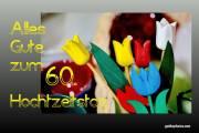 Grußkarte 60. Hochzeitstag Tulpen, bunt