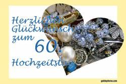 Grußkarte 60. Hochzeitstag Herz, Liebe, Valentinstag Schmuck