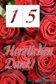 Dankeskarten 15.Hochzeitstag rote Rosen