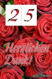 Dankeskarten  25. Hochzeitstag Silberhochzeit rote Rosen