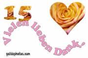 Dankeskarten 15.Hochzeitstag Herz, Liebe, Valentinstag, Rose