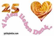 Dankeskarten 25. Hochzeitstag Silberhochzeit Herz, Liebe, Valentinstag, Rose