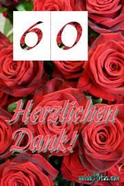 Dankeskarten 60.Hochzeitstag rote Rosen