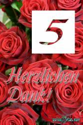Dankeskarten  5.Hochzeitstag rote Rosen