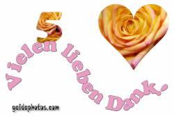 Dankeskarten 5.Hochzeitstag Herz, Liebe, Valentinstag, Rose