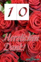 Dankeskarten 10.Hochzeitstag rote Rosen