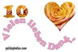 Dankeskarten 10.Hochzeitstag Herz, Liebe, Valentinstag, Rose