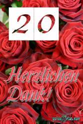 Dankeskarten 20.Hochzeitstag rote Rosen