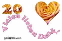 Dankeskarten 20.Hochzeitstag Herz, Liebe, Valentinstag, Rose