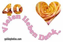 Danksagungskarten zum 40. Hochzeitstag Herz, Liebe, Valentinstag, Rose