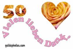 Dankeskarten 50.Hochzeitstag Herz, Liebe, Valentinstag, Rose