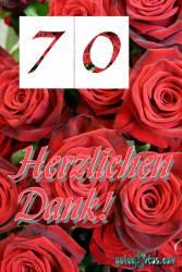 Dankeskarten 70.Hochzeitstag rote Rosen