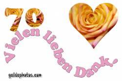 Dankeskarten 70.Hochzeitstag Herz, Liebe, Valentinstag, Rose