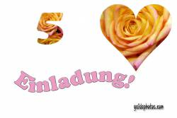 Einladungskarten 5. Hochzeitstag Herz, Liebe, Valentinstag, Rose