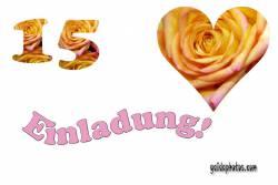 Einladung 15. Herz, Liebe, Valentinstag, Rose