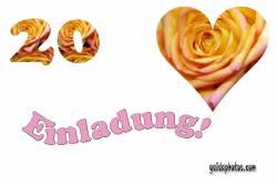 Einladungskarten 20. Hochzeitstag Herz, Liebe, Valentinstag, Rose