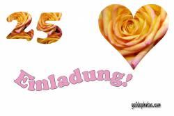 Einladungskarten 25. Hochzeitstag Herz, Liebe, Valentinstag, Rose