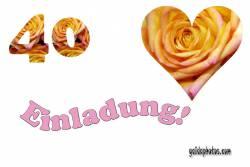 Einladung  zum 40. Herz, Liebe, Valentinstag, Rose