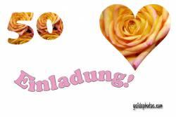 Einladungskarten 50. Hochzeitstag Herz, Liebe, Valentinstag, Rose