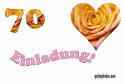 Einladungskarten 70. Hochzeitstag Herz, Liebe, Valentinstag, Rose