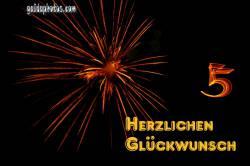 Grusskarten zum 5. Jubiläum/ Jahrestag Feuerwerk