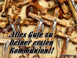 Kommunionkarte, Rosenkranz, Kruzifix