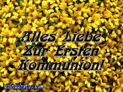 Kommunionkarte, Blüten, gelb