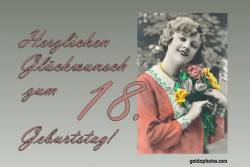 18. Geburtstag - Frau Blumenstrauß Antik